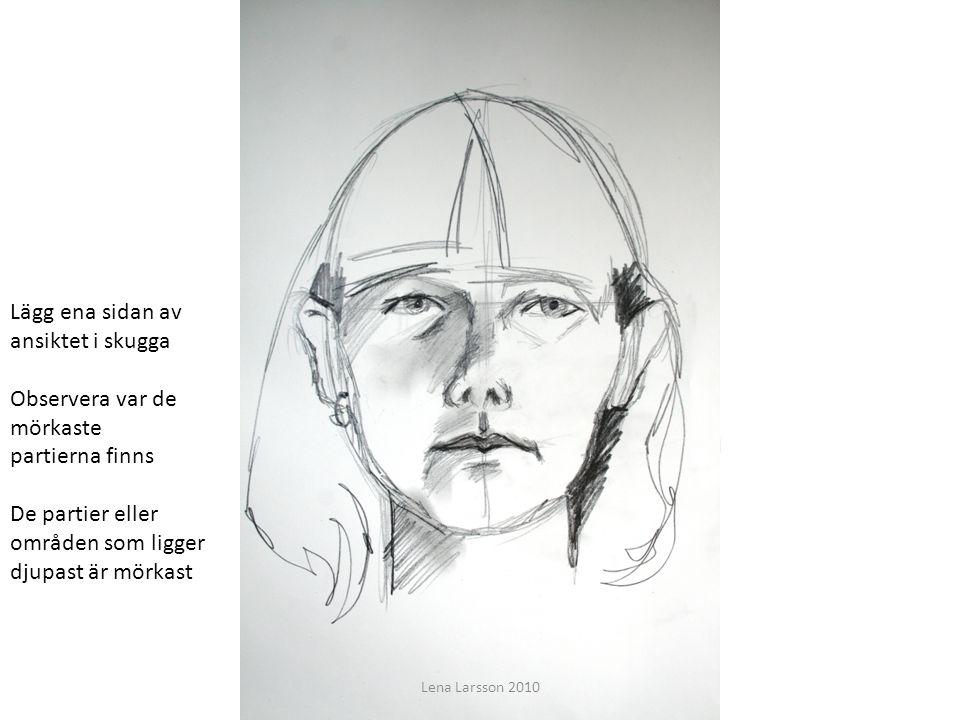 Du ska få lära dig grunderna för att teckna ett porträtt Lägg ena sidan av ansiktet i skugga Observera var de mörkaste partierna finns De partier elle