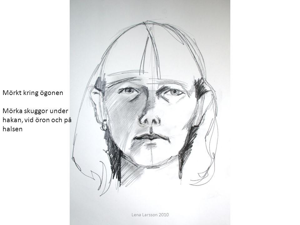 Att teckna ett ansikte Du ska få lära dig grunderna för att teckna ett porträtt Mörka skuggor under hakan, vid öron och på halsen Mörkt kring ögonen L