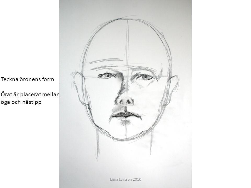 Att teckna ett ansikte Du ska få lära dig grunderna för att teckna ett porträtt Teckna öronens form Örat är placerat mellan öga och nästipp Lena Larss