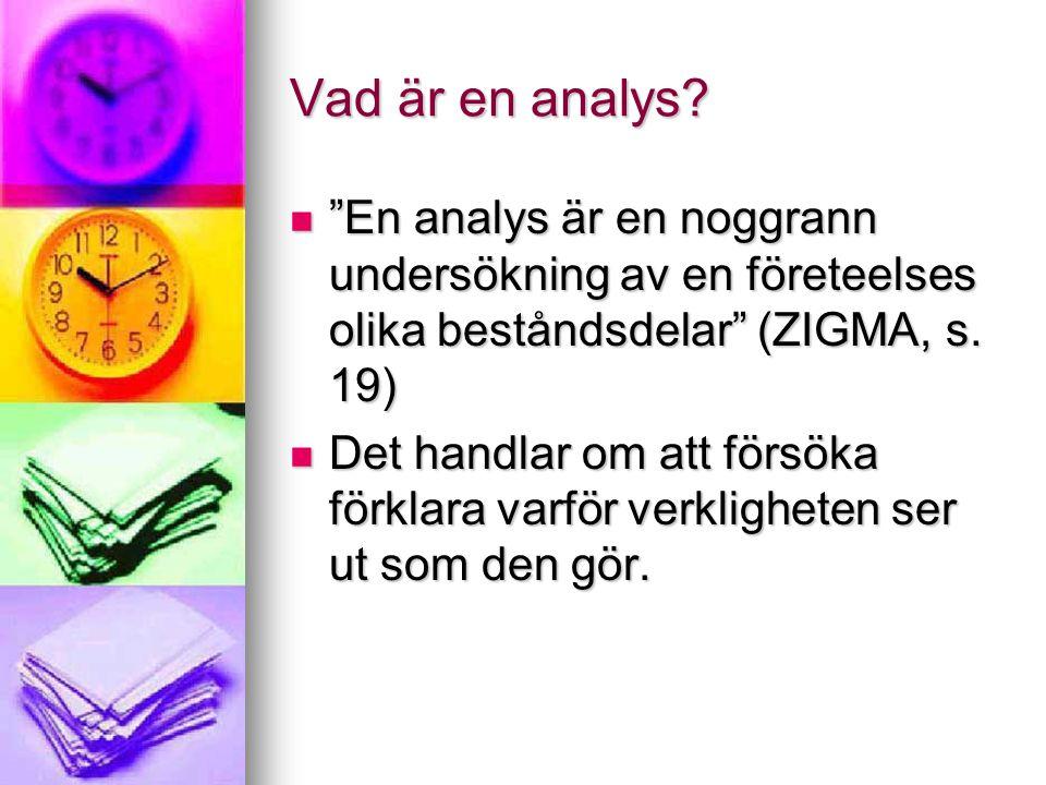 """Vad är en analys? """"En analys är en noggrann undersökning av en företeelses olika beståndsdelar"""" (ZIGMA, s. 19) """"En analys är en noggrann undersökning"""