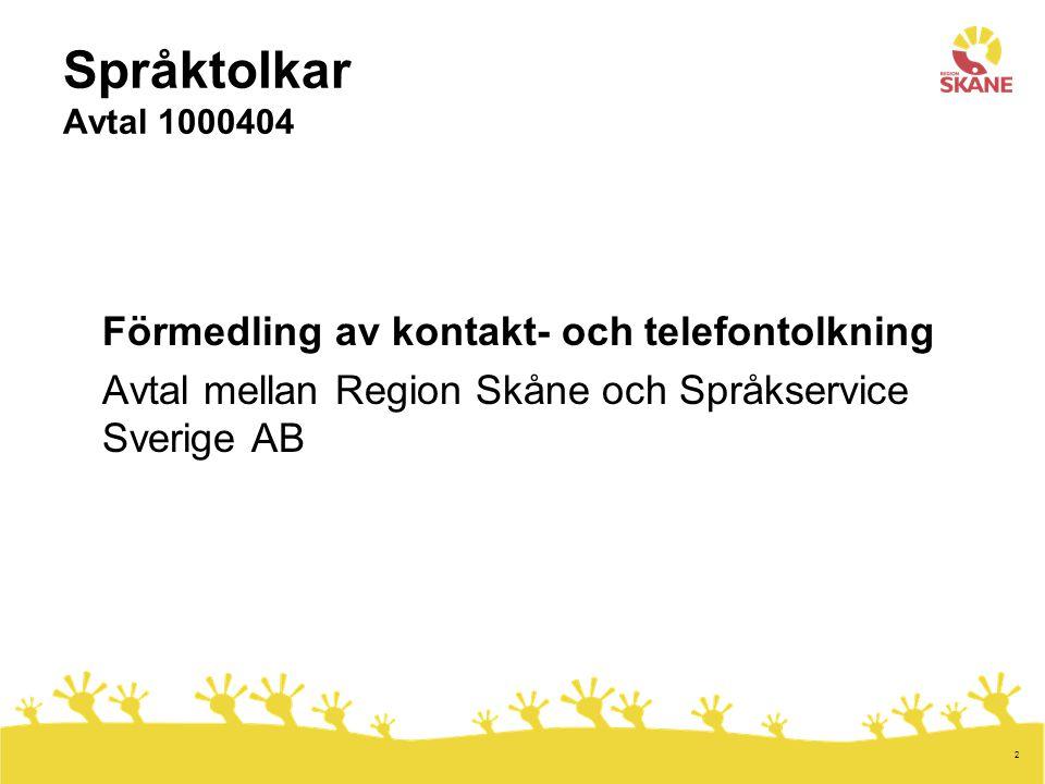 2 Språktolkar Avtal 1000404 Förmedling av kontakt- och telefontolkning Avtal mellan Region Skåne och Språkservice Sverige AB