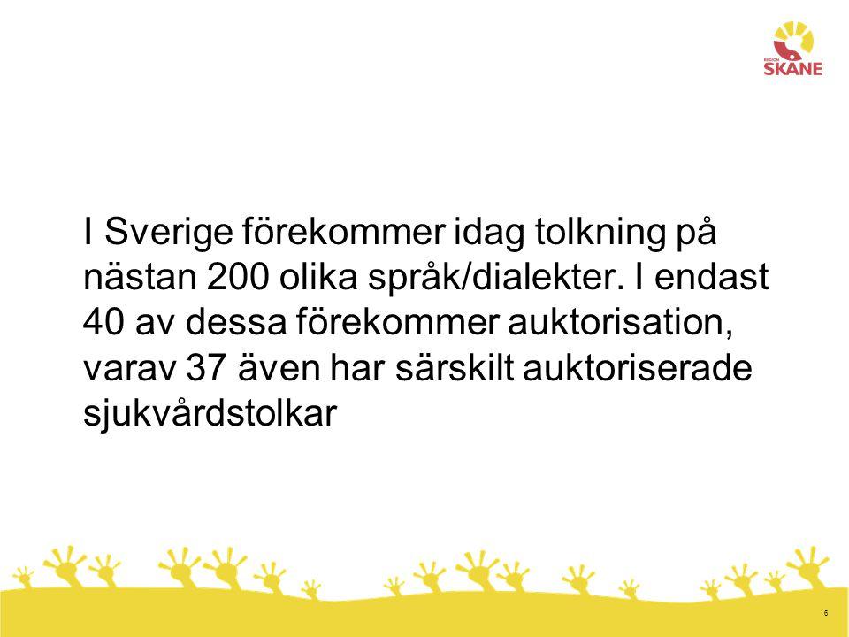 6 I Sverige förekommer idag tolkning på nästan 200 olika språk/dialekter. I endast 40 av dessa förekommer auktorisation, varav 37 även har särskilt au