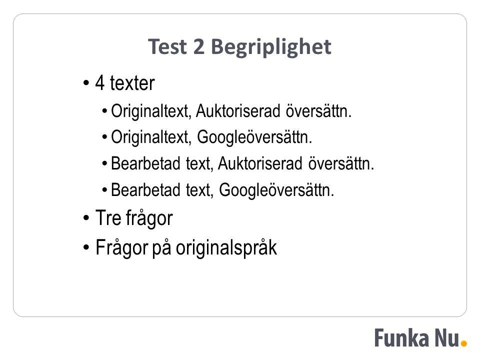 Test 2 Begriplighet 4 texter Originaltext, Auktoriserad översättn. Originaltext, Googleöversättn. Bearbetad text, Auktoriserad översättn. Bearbetad te