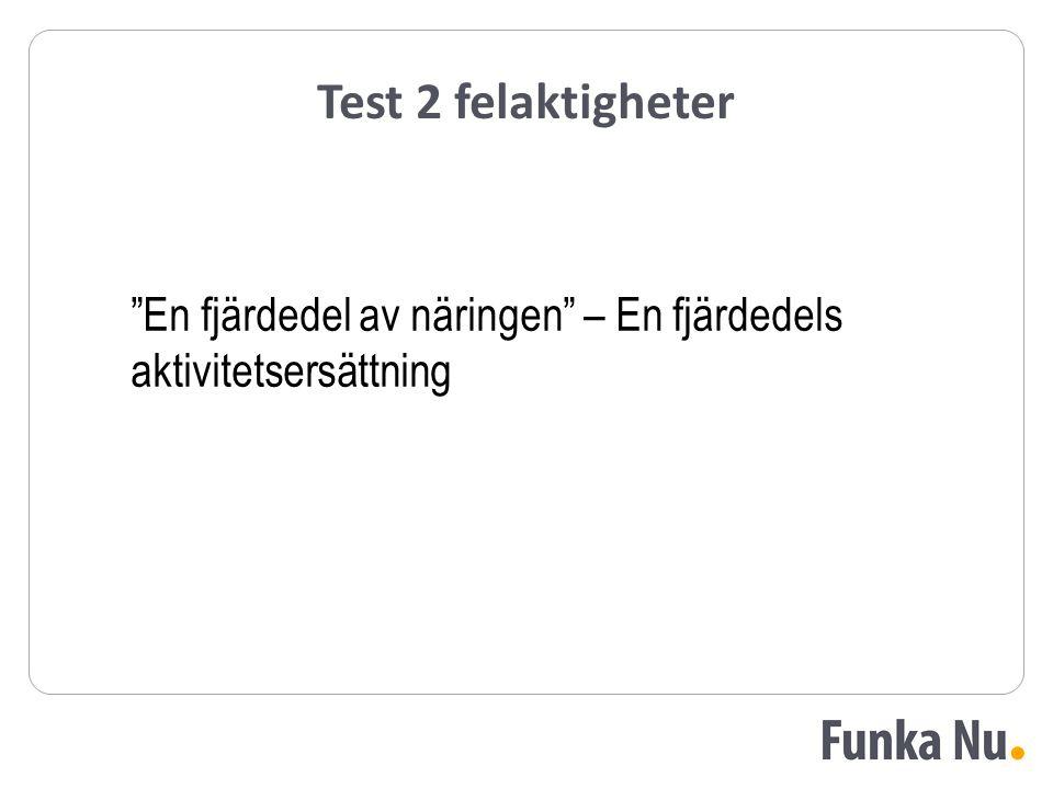 """Test 2 felaktigheter """"En fjärdedel av näringen"""" – En fjärdedels aktivitetsersättning"""
