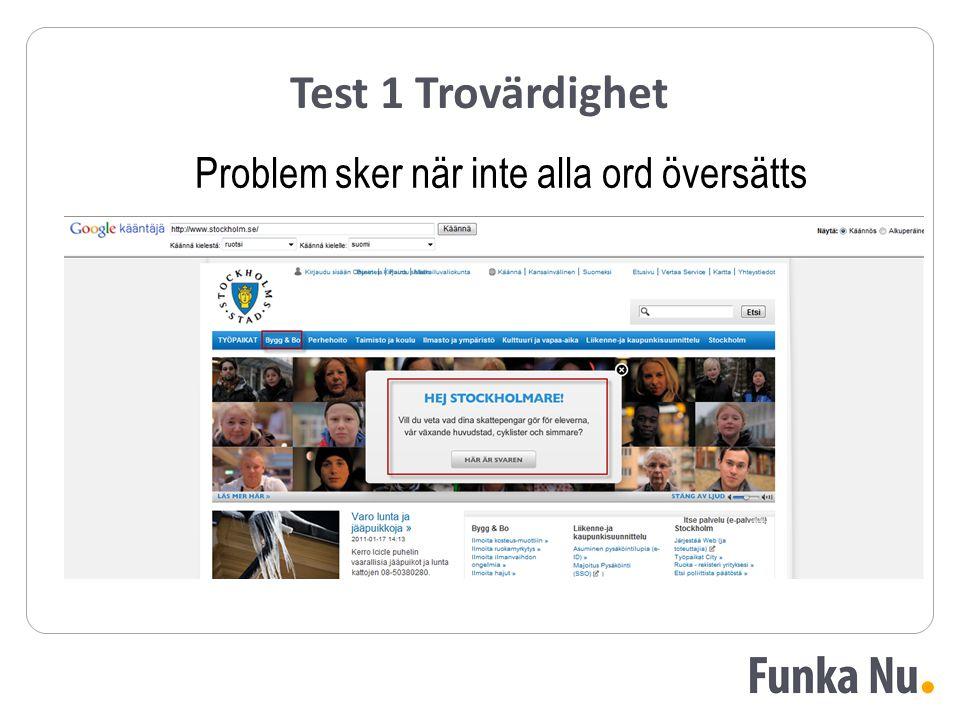 Test 1 Trovärdighet Problem sker när inte alla ord översätts