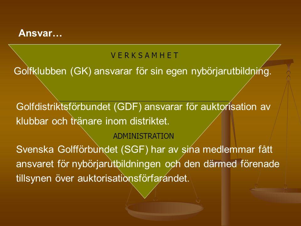 Ansvar… Golfdistriktsförbundet (GDF) ansvarar för auktorisation av klubbar och tränare inom distriktet. Svenska Golfförbundet (SGF) har av sina medlem