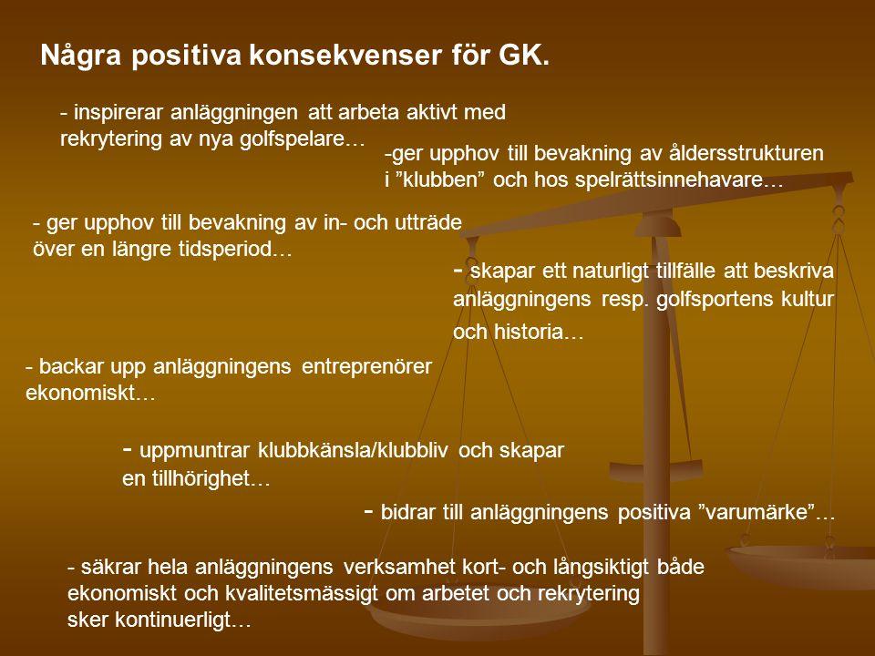 Några positiva konsekvenser för GK. - inspirerar anläggningen att arbeta aktivt med rekrytering av nya golfspelare… -ger upphov till bevakning av ålde