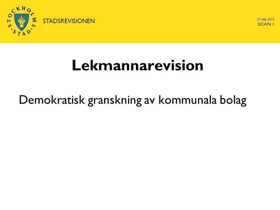 27 maj 2010 SIDAN 12 www.stockholm.se/revision Tidplan för planeringsprocessen  Under hösten påbörjades arbetet med att planera för nästa revisionsår för både nämnder och bolag  Revisionsplanen antas i februari  Under april tas ett förslag på granskningsplanerings-PM fram för respektive bolag  Under maj träffas samtliga lekmannarevisorer och planerna godkänns  Senast juni har lekmannarevisorn och biträdet ett planerings- möte med bolagets auktoriserade revisor.