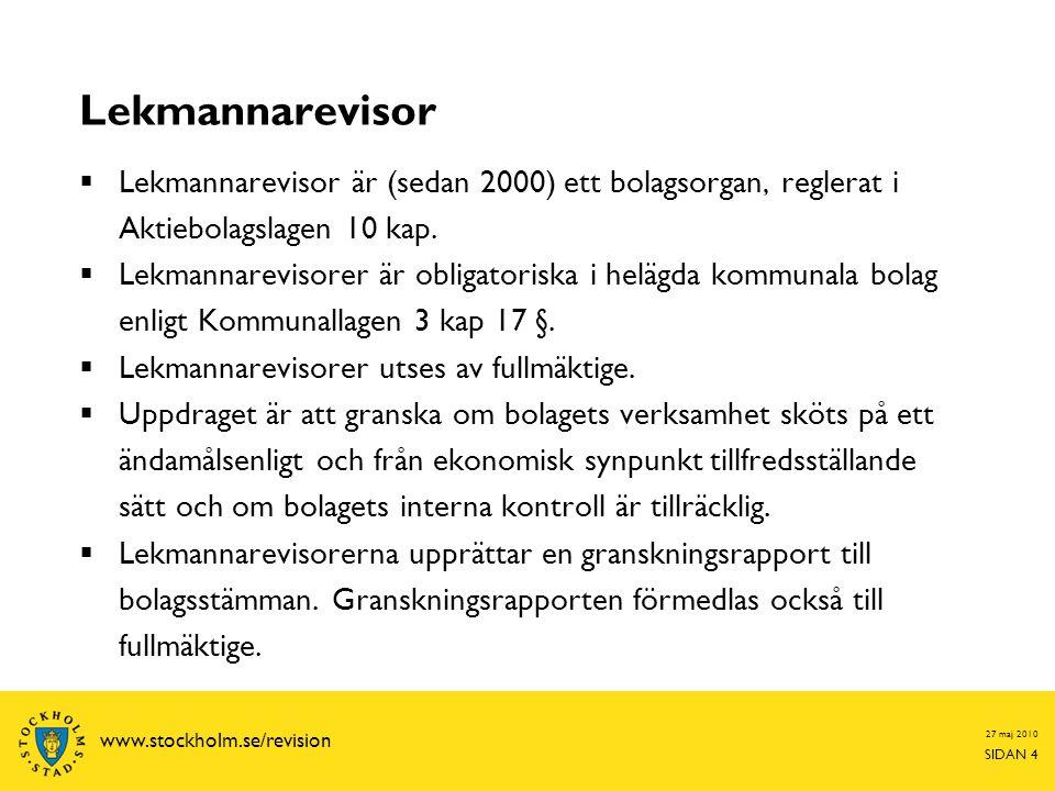 27 maj 2010 SIDAN 15 www.stockholm.se/revision Rapportering till bolaget Den auktoriserade revisorn lämnar skriftliga rapporter för  Den löpande granskningen  Granskningen av delårsbokslutet  Granskningen av bokslutet  Samt en revisionsberättelse Lekmannarevisionen lämnar följande skriftliga rapporter  En granskningspromemoria  En granskningsrapport  Särskilda revisionsrapporter om bolaget ingår i en bredare granskning