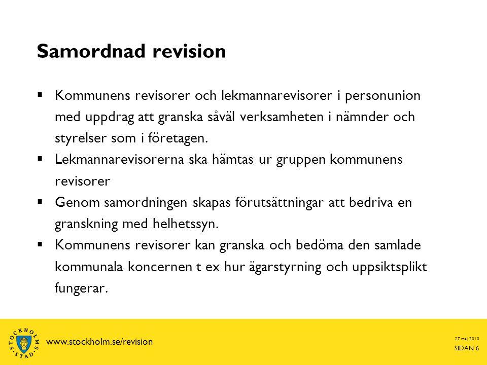 27 maj 2010 SIDAN 17 www.stockholm.se/revision Lekmannarevisonens bolagsgranskning  Basgranskning genomförs vid samtliga bolag  Särskilda granskningar genomförs utifrån en risk- och väsentlighetsanalys
