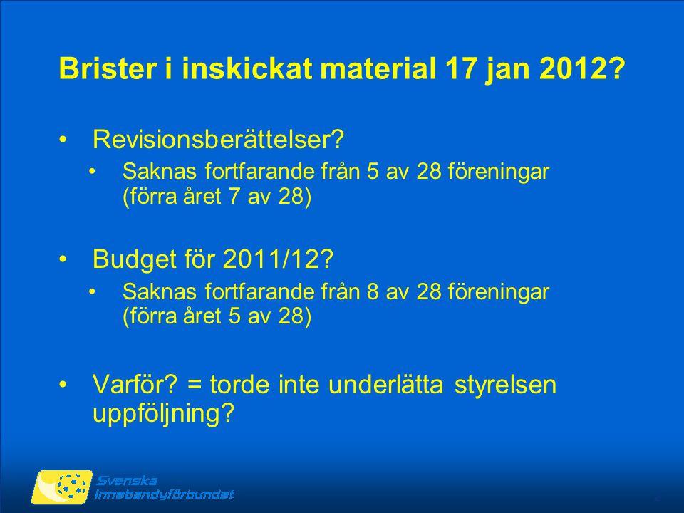 2 Brister i inskickat material 17 jan 2012. Revisionsberättelser.