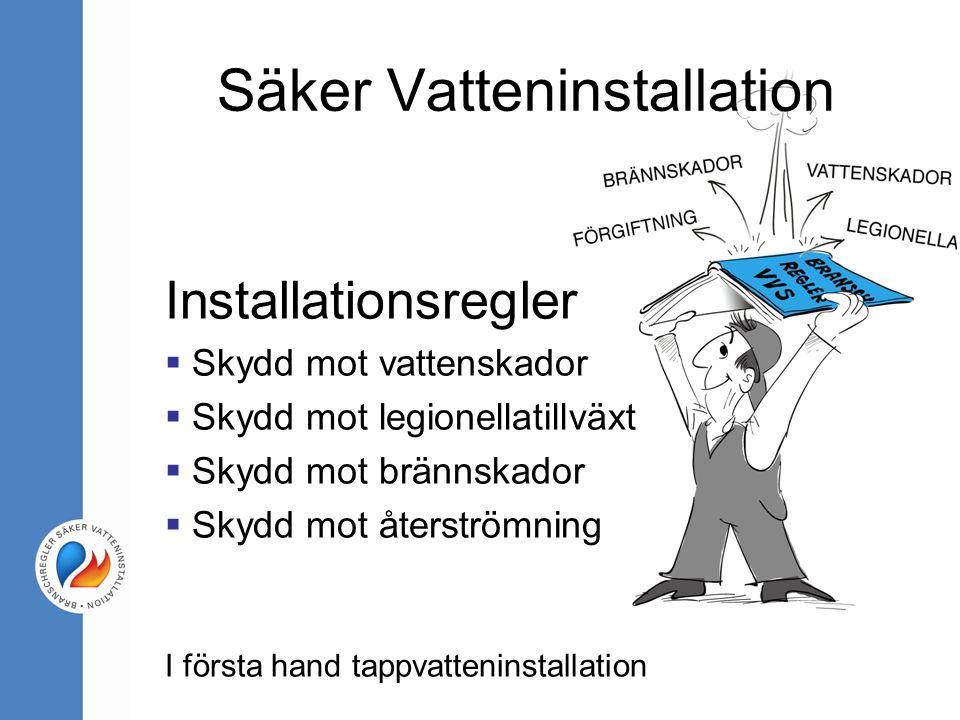 Installationsregler  Skydd mot vattenskador  Skydd mot legionellatillväxt  Skydd mot brännskador  Skydd mot återströmning I första hand tappvatten