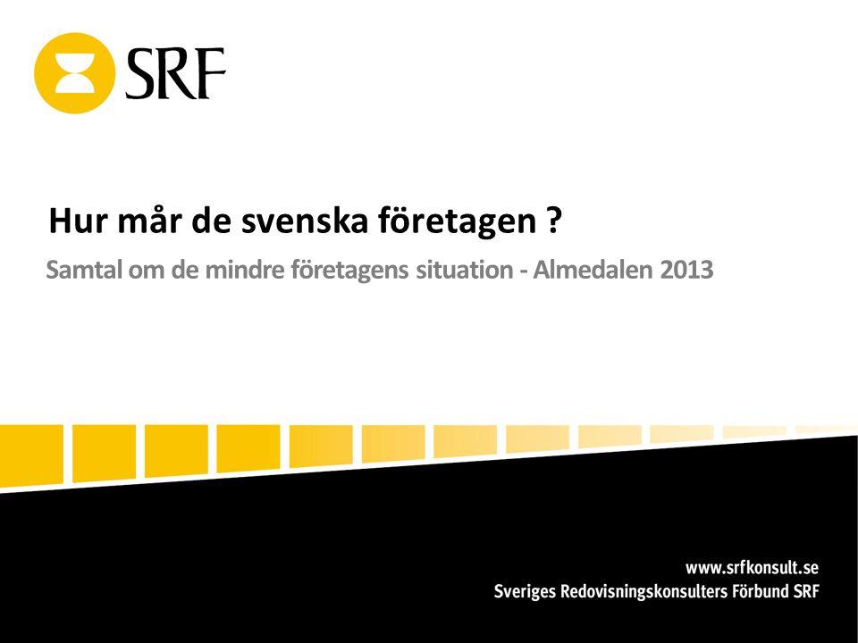 Hur mår de svenska företagen Samtal om de mindre företagens situation - Almedalen 2013