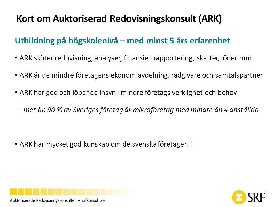 Kort om Auktoriserad Redovisningskonsult (ARK) Utbildning på högskolenivå – med minst 5 års erfarenhet ARK sköter redovisning, analyser, finansiell rapportering, skatter, löner mm ARK är de mindre företagens ekonomiavdelning, rådgivare och samtalspartner ARK har god och löpande insyn i mindre företags verklighet och behov - mer än 90 % av Sveriges företag är mikroföretag med mindre än 4 anställda ARK har mycket god kunskap om de svenska företagen !