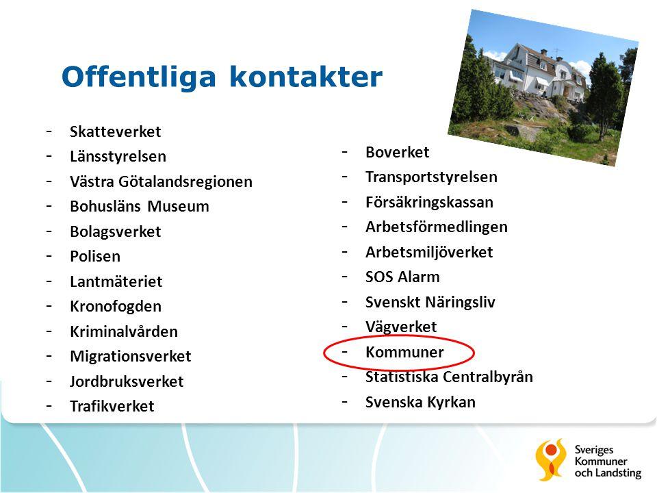Offentliga kontakter - Skatteverket - Länsstyrelsen - Västra Götalandsregionen - Bohusläns Museum - Bolagsverket - Polisen - Lantmäteriet - Kronofogde