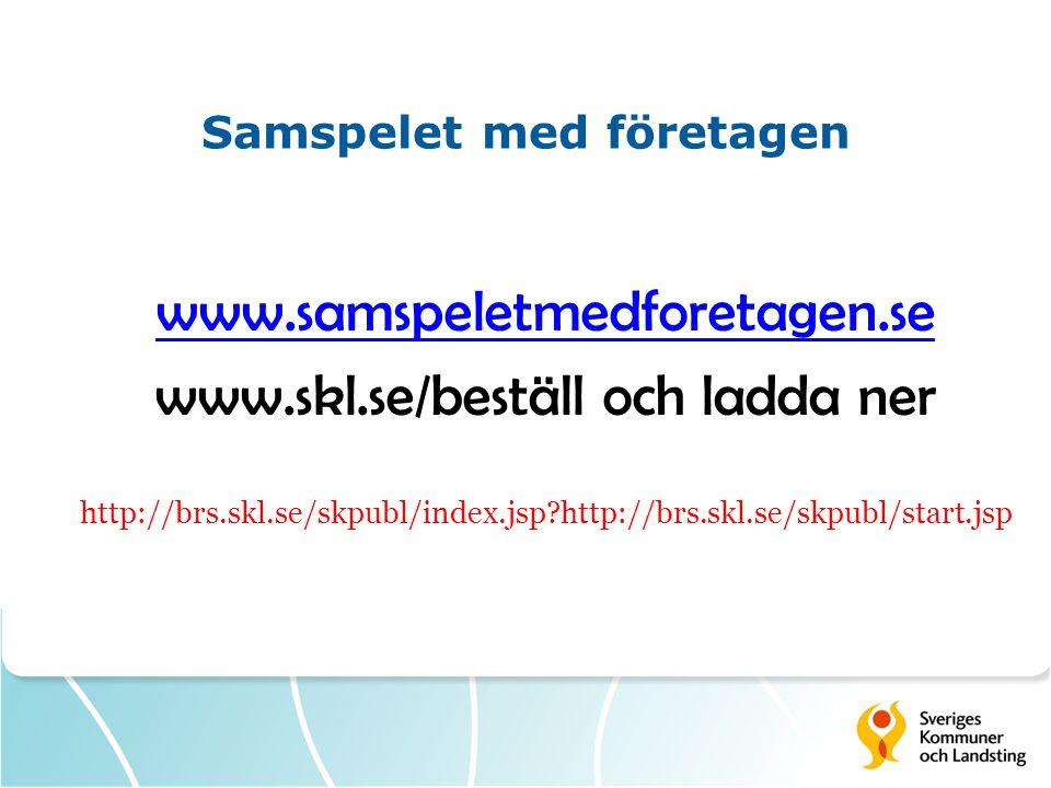 Samspelet med företagen www.samspeletmedforetagen.se www.skl.se/beställ och ladda ner http://brs.skl.se/skpubl/index.jsp?http://brs.skl.se/skpubl/star