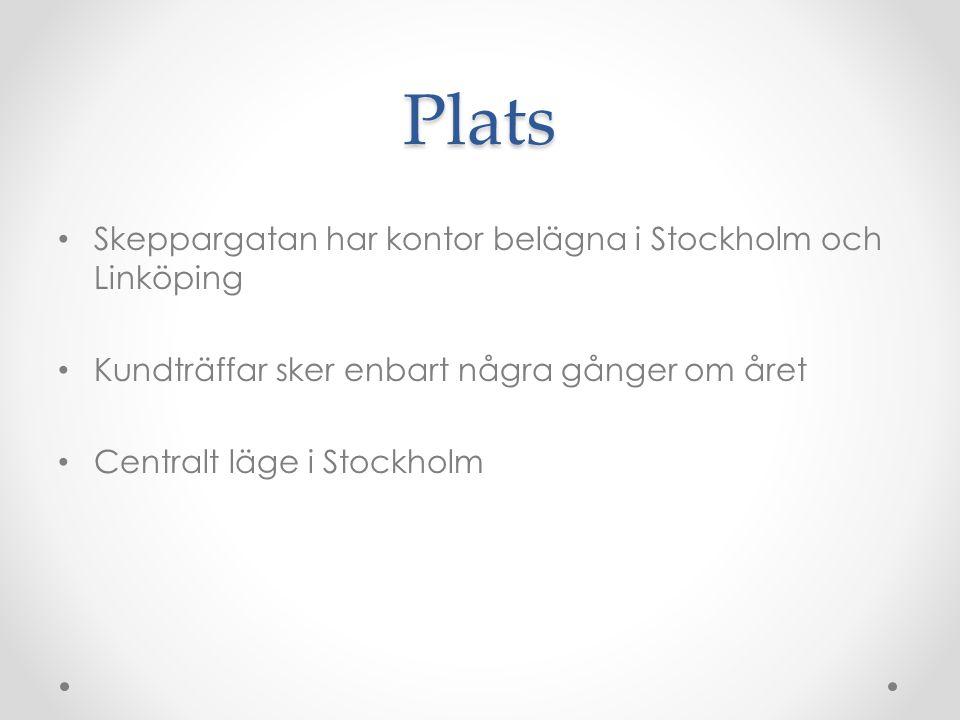 Plats Skeppargatan har kontor belägna i Stockholm och Linköping Kundträffar sker enbart några gånger om året Centralt läge i Stockholm