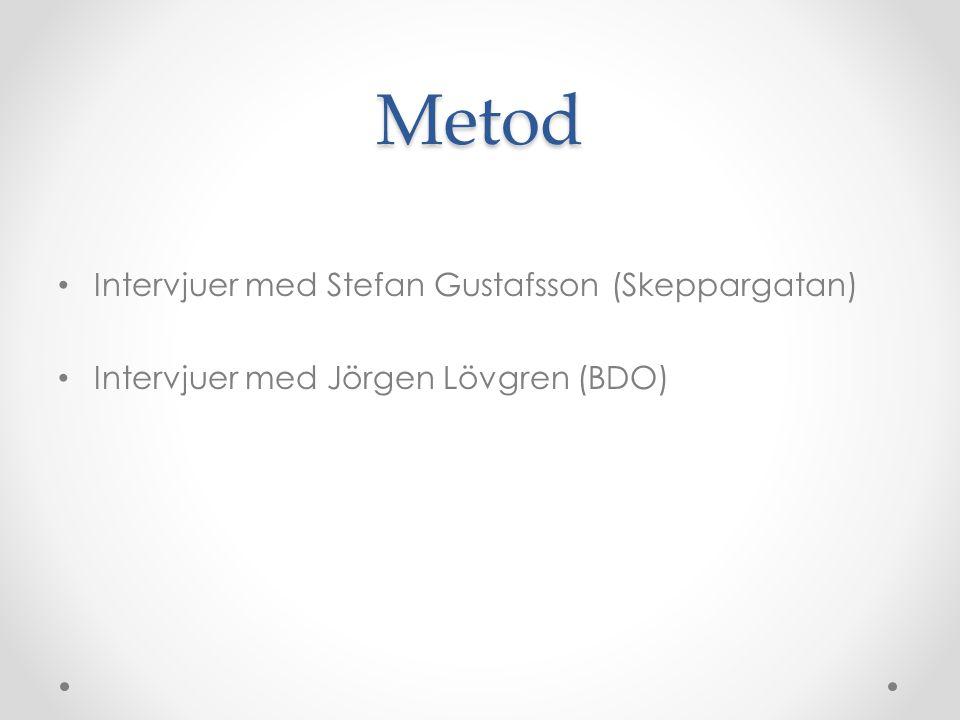 Metod Intervjuer med Stefan Gustafsson (Skeppargatan) Intervjuer med Jörgen Lövgren (BDO)