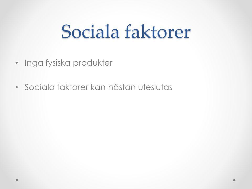 Sociala faktorer Inga fysiska produkter Sociala faktorer kan nästan uteslutas