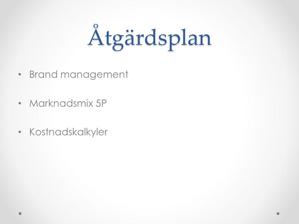 Åtgärdsplan Brand management Marknadsmix 5P Kostnadskalkyler
