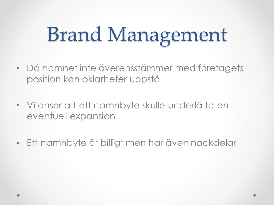 Brand Management Då namnet inte överensstämmer med företagets position kan oklarheter uppstå Vi anser att ett namnbyte skulle underlätta en eventuell