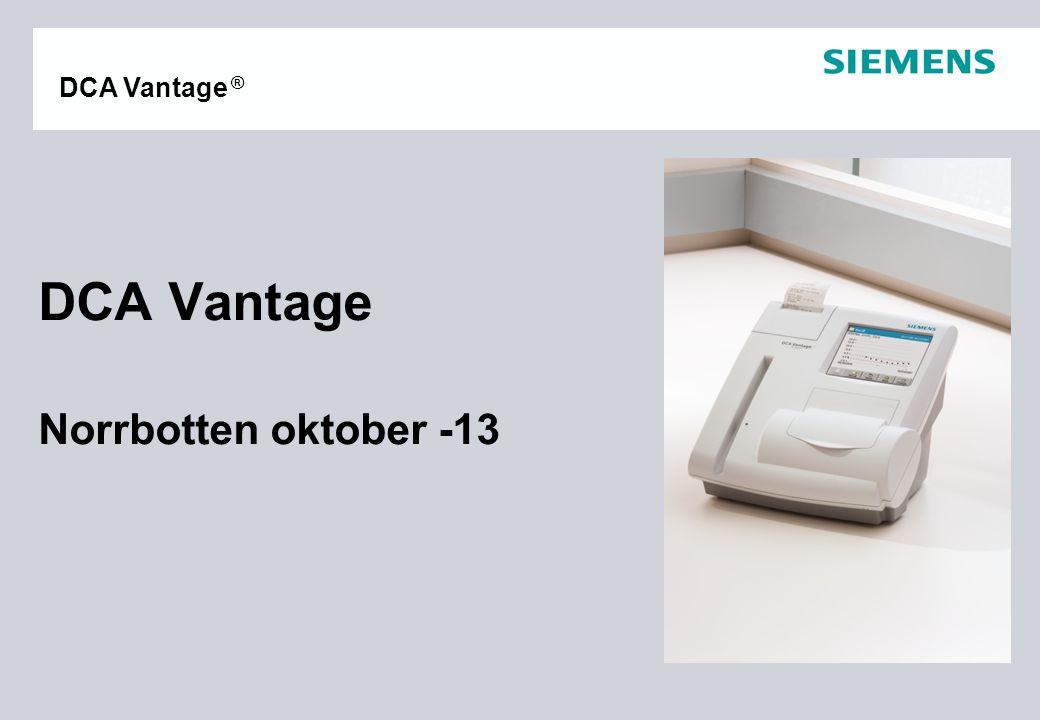 Sid 32 Mars-07 Siemens Medical Solutions Diagnostics AB DCA Vantage ® Loggblad Optisk testkassett