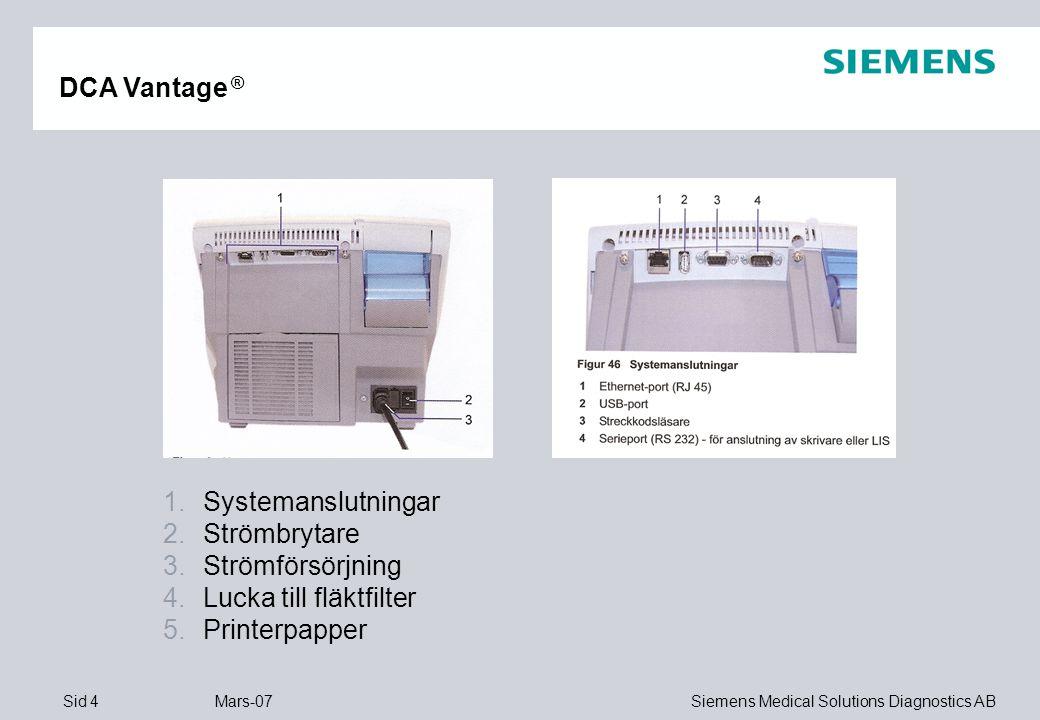 Sid 15 Mars-07 Siemens Medical Solutions Diagnostics AB DCA Vantage ® Ta bort kassett
