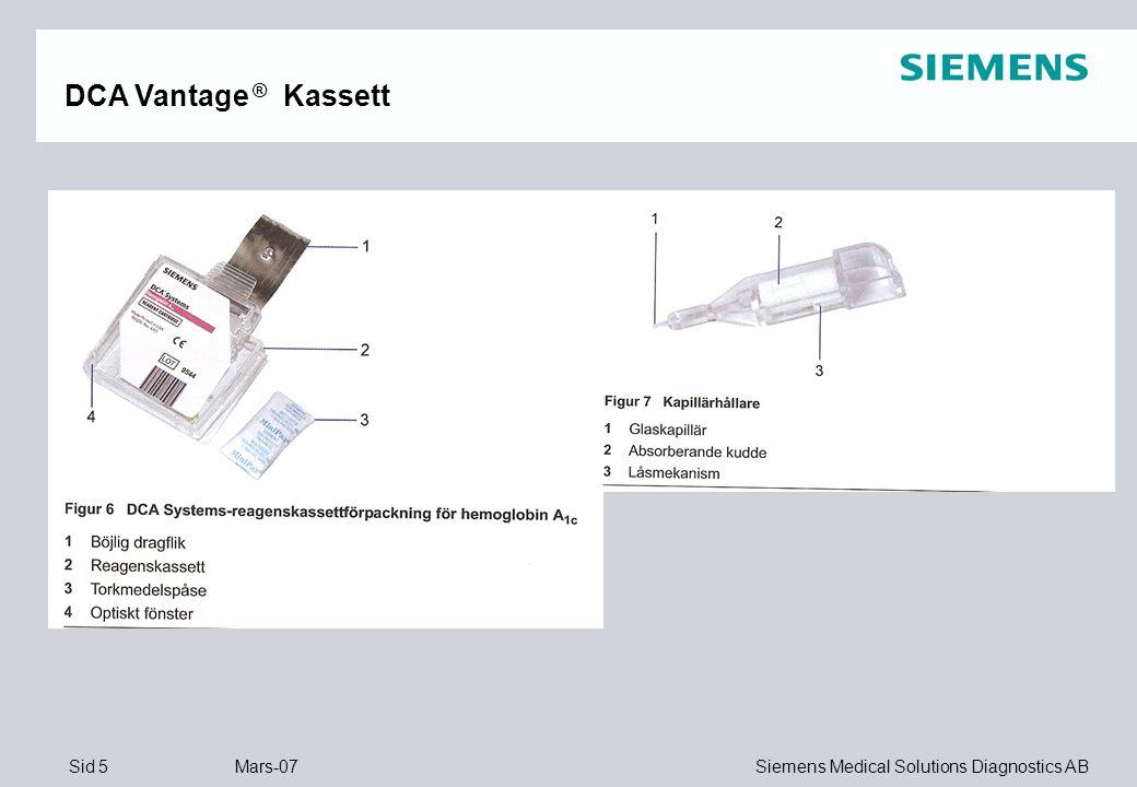 Sid 16 Mars-07 Siemens Medical Solutions Diagnostics AB Mikroalbumin/Kreatinin KVOT DCA Vantage Upptäck njurskadan…… …..innan det är försent !!