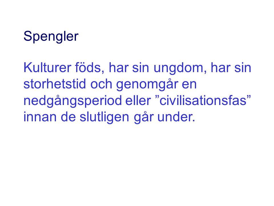 """Spengler Kulturer föds, har sin ungdom, har sin storhetstid och genomgår en nedgångsperiod eller """"civilisationsfas"""" innan de slutligen går under."""