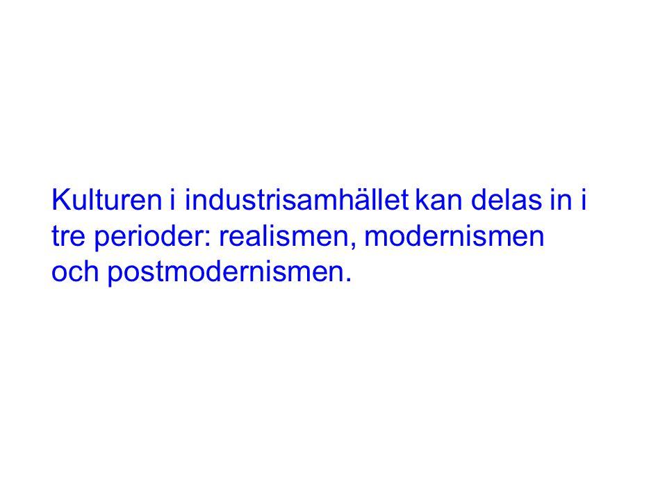 Kulturen i industrisamhället kan delas in i tre perioder: realismen, modernismen och postmodernismen.