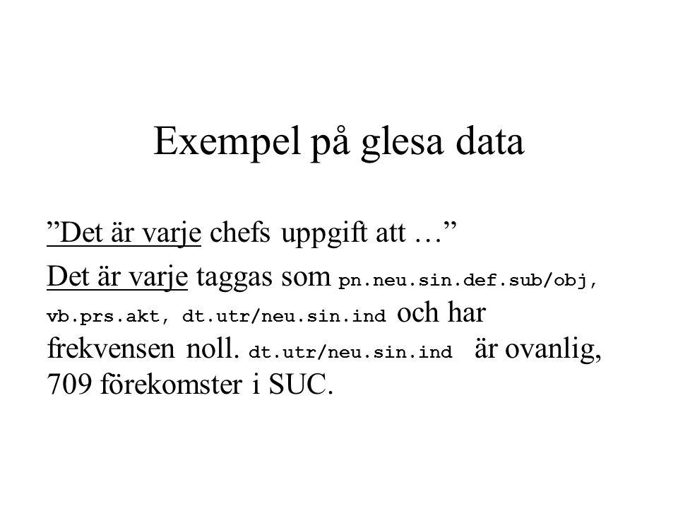 """Exempel på glesa data """"Det är varje chefs uppgift att …"""" Det är varje taggas som pn.neu.sin.def.sub/obj, vb.prs.akt, dt.utr/neu.sin.ind och har frekve"""