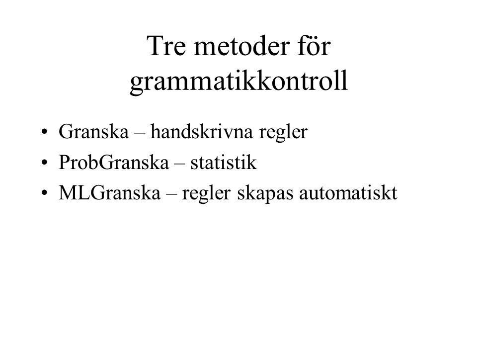 Tre metoder för grammatikkontroll Granska – handskrivna regler ProbGranska – statistik MLGranska – regler skapas automatiskt