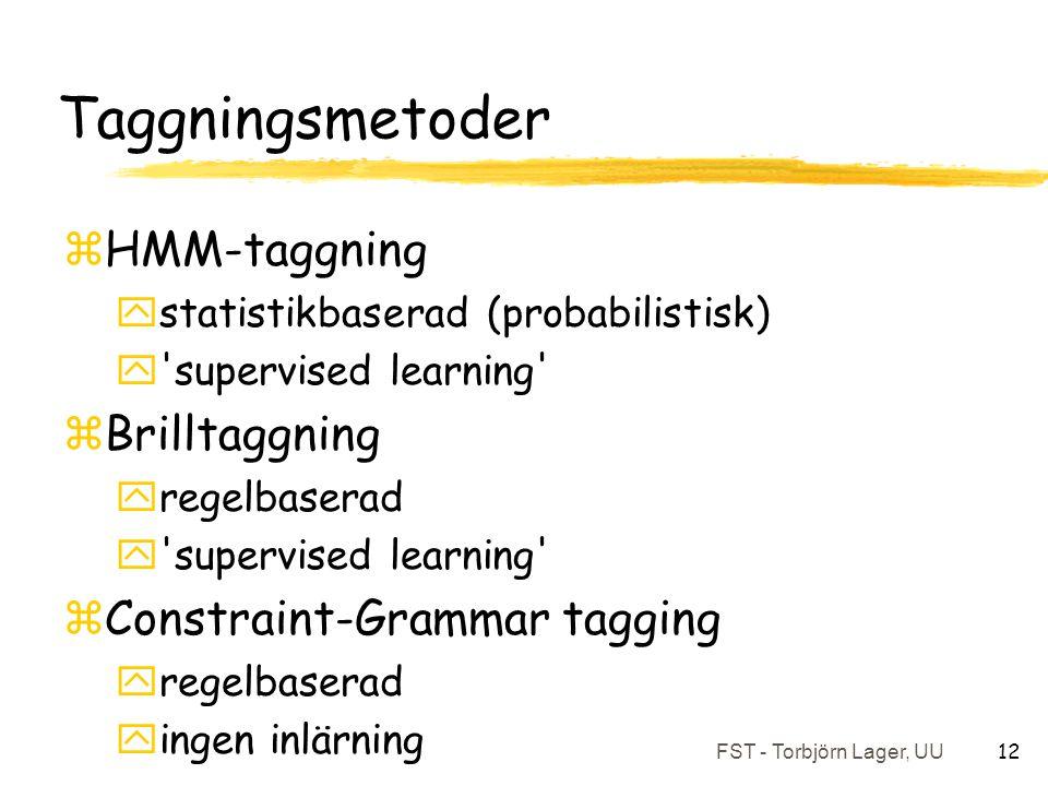 FST - Torbjörn Lager, UU 12 Taggningsmetoder zHMM-taggning ystatistikbaserad (probabilistisk) y supervised learning zBrilltaggning yregelbaserad y supervised learning zConstraint-Grammar tagging yregelbaserad yingen inlärning
