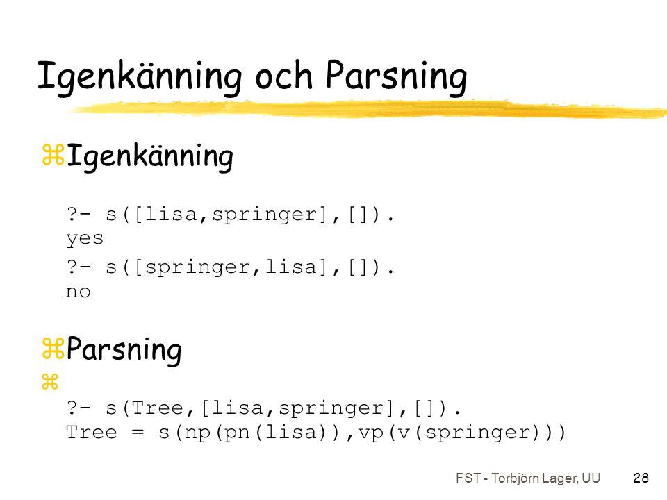 FST - Torbjörn Lager, UU 28 Igenkänning och Parsning zIgenkänning ?- s([lisa,springer],[]).