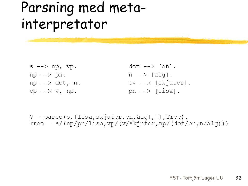 FST - Torbjörn Lager, UU 32 Parsning med meta- interpretator s --> np, vp.det --> [en].