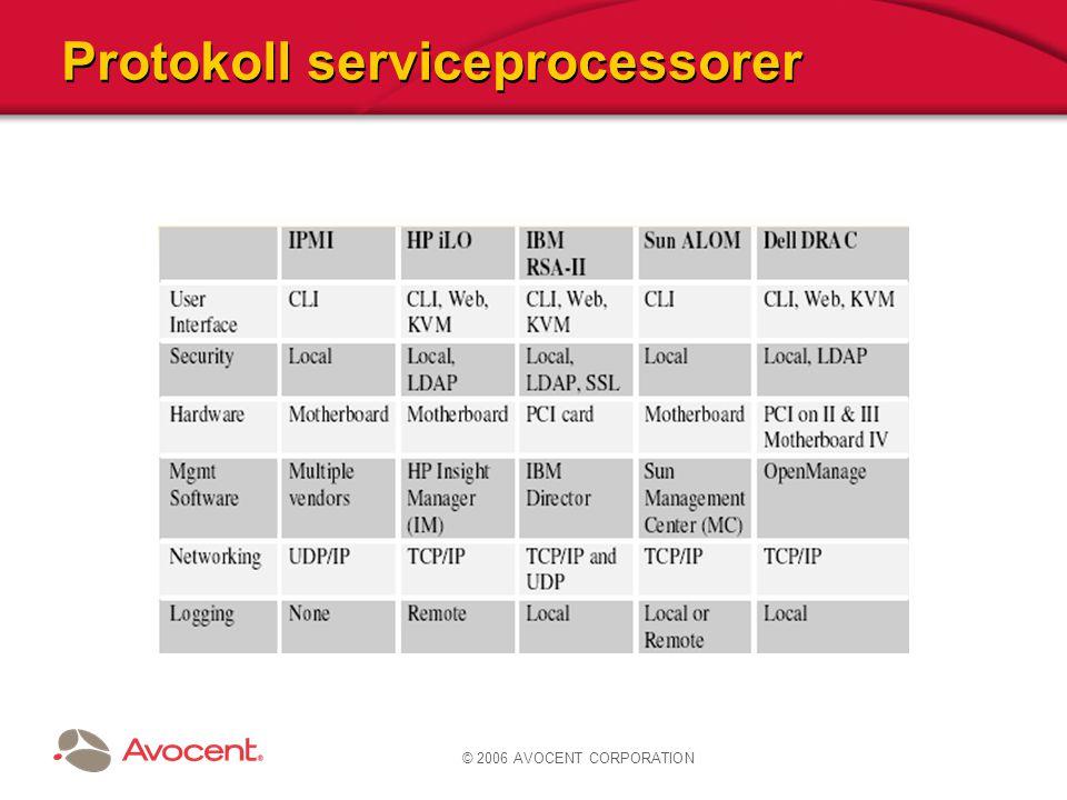 © 2006 AVOCENT CORPORATION Protokoll serviceprocessorer