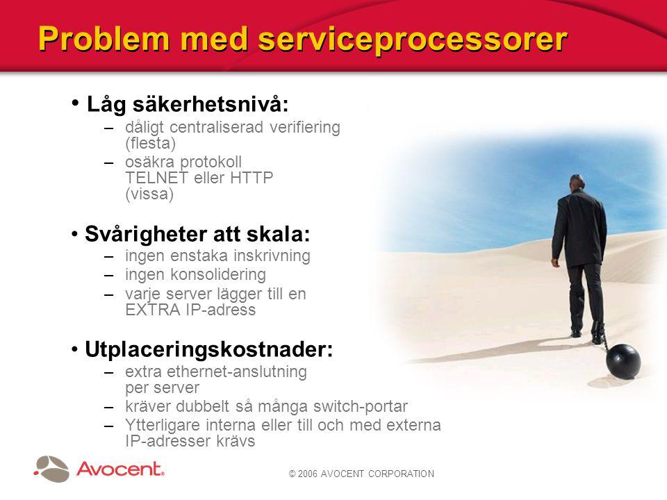 © 2006 AVOCENT CORPORATION Problem med serviceprocessorer Låg säkerhetsnivå: –dåligt centraliserad verifiering (flesta) –osäkra protokoll TELNET eller