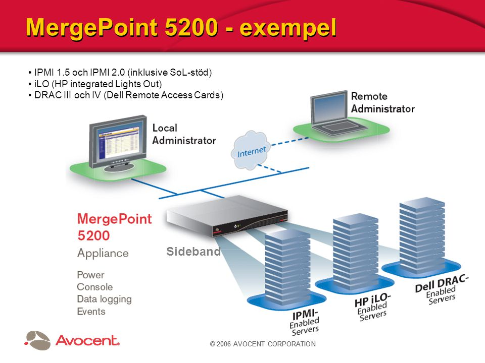 MergePoint 5200 Logisk enhet Två ethernet-portar Seriell konsol för initial uppsättning Säkert: RDP- och VNC-stöd MGP5200-xxx:basenhet, 64 servers MGPUG64-xxx:add on licens för 64 servers MGPUG128-xxx:add onlicens för 128 servers Användargränssnitt: - Webb-baserat gränssnitt - CLI baserad på SMASH CLP