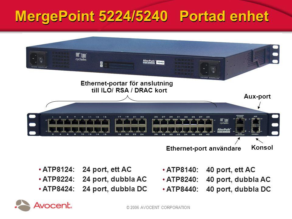 © 2006 AVOCENT CORPORATION MergePoint 5224/5240 Portad enhet Ethernet-portar för anslutning till ILO/ RSA / DRAC kort Ethernet-port användare Aux-port