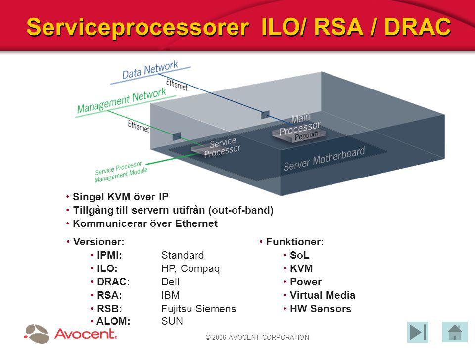 © 2006 AVOCENT CORPORATION Serviceprocessorer ILO/ RSA / DRAC Singel KVM över IP Tillgång till servern utifrån (out-of-band) Kommunicerar över Etherne
