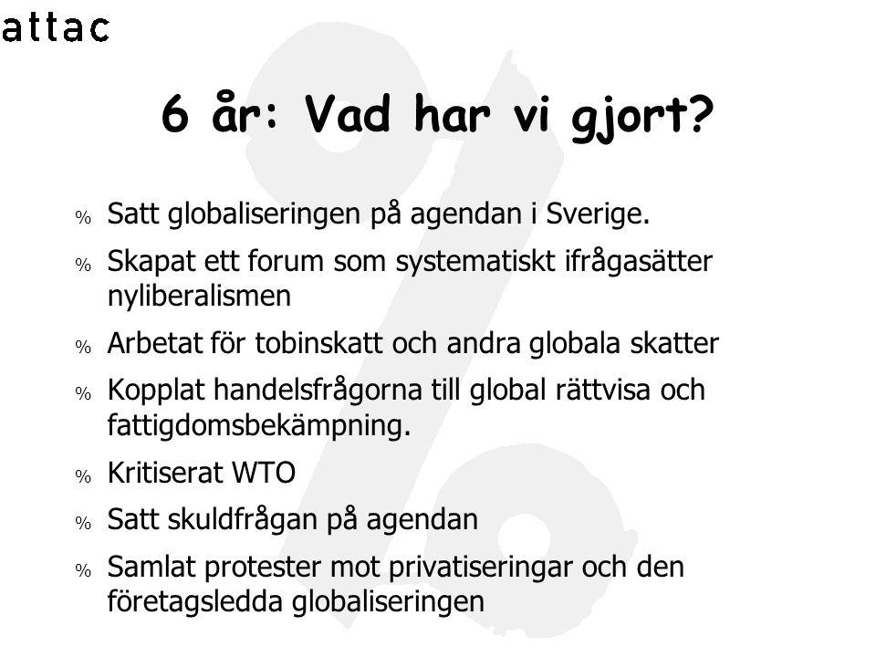 6 år: Vad har vi gjort? % Satt globaliseringen på agendan i Sverige. % Skapat ett forum som systematiskt ifrågasätter nyliberalismen % Arbetat för tob