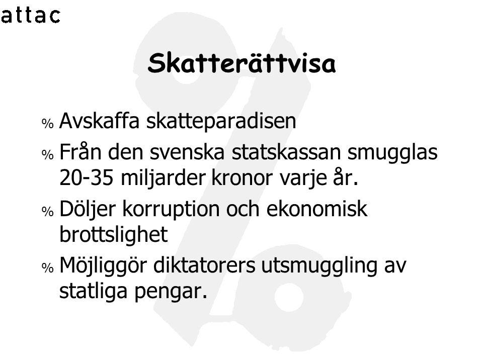 Skatterättvisa % Avskaffa skatteparadisen % Från den svenska statskassan smugglas 20-35 miljarder kronor varje år. % Döljer korruption och ekonomisk b