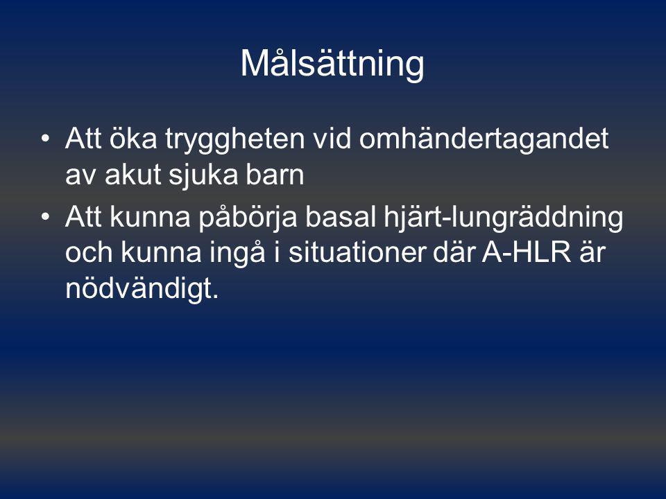 Målsättning Att öka tryggheten vid omhändertagandet av akut sjuka barn Att kunna påbörja basal hjärt-lungräddning och kunna ingå i situationer där A-H