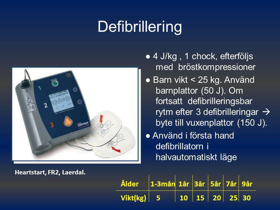 Defibrillering ● 4 J/kg, 1 chock, efterföljs med bröstkompressioner ● Barn vikt < 25 kg. Använd barnplattor (50 J). Om fortsatt defibrilleringsbar ryt