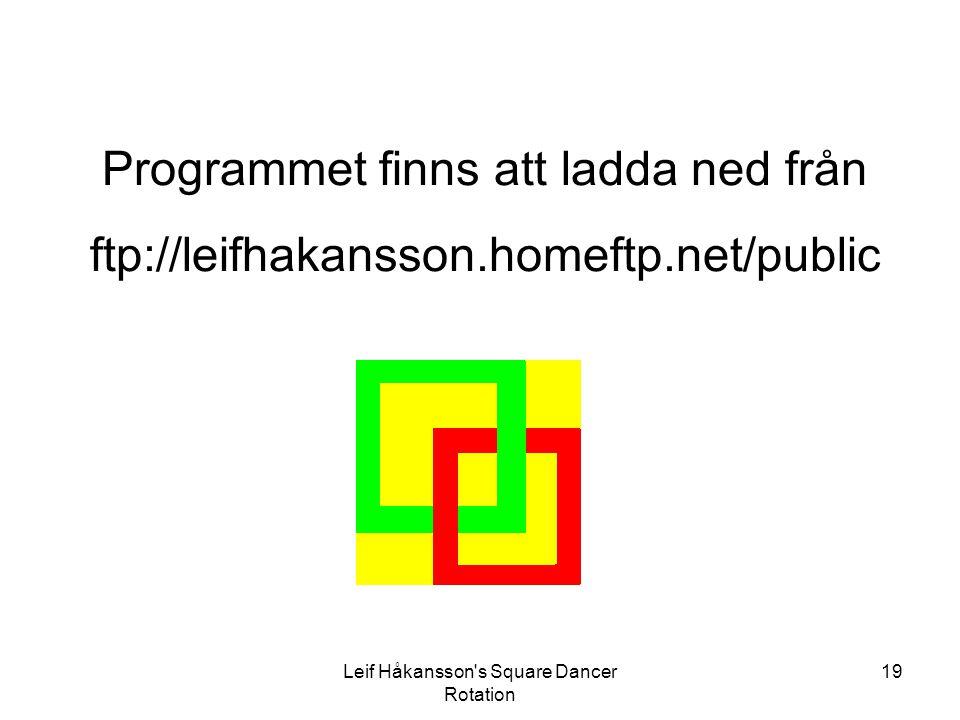 Leif Håkansson's Square Dancer Rotation 19 Programmet finns att ladda ned från ftp://leifhakansson.homeftp.net/public