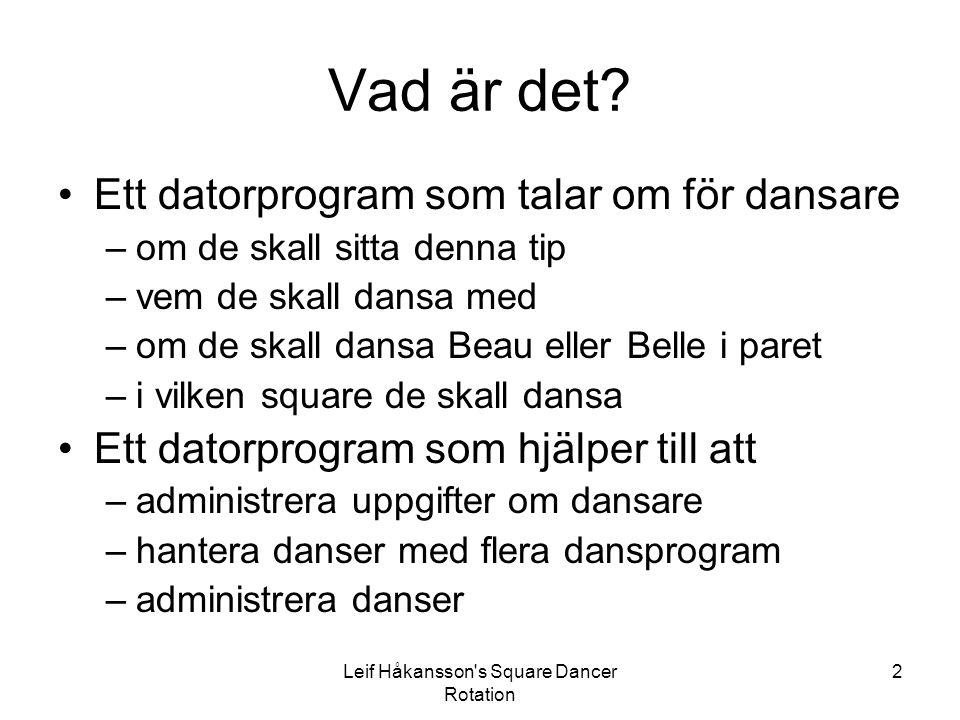 Leif Håkansson's Square Dancer Rotation 2 Vad är det? Ett datorprogram som talar om för dansare –om de skall sitta denna tip –vem de skall dansa med –