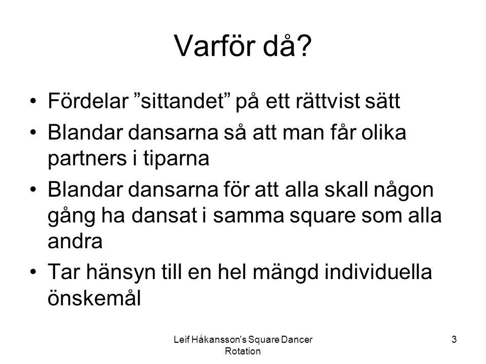 Leif Håkansson s Square Dancer Rotation 34 Generella principer Den dansare som kommit med men som vill ha sin sitout samtidigt som en dansare som inte kommit med flyttas nu till den tredje tunnan i sin grupp, som tidigare inte använts.