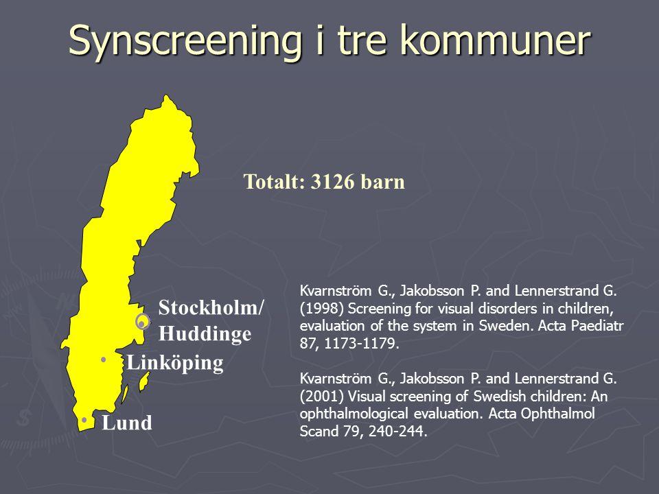 Synscreening i tre kommuner Linköping Lund Totalt: 3126 barn Stockholm/ Huddinge Kvarnström G., Jakobsson P.