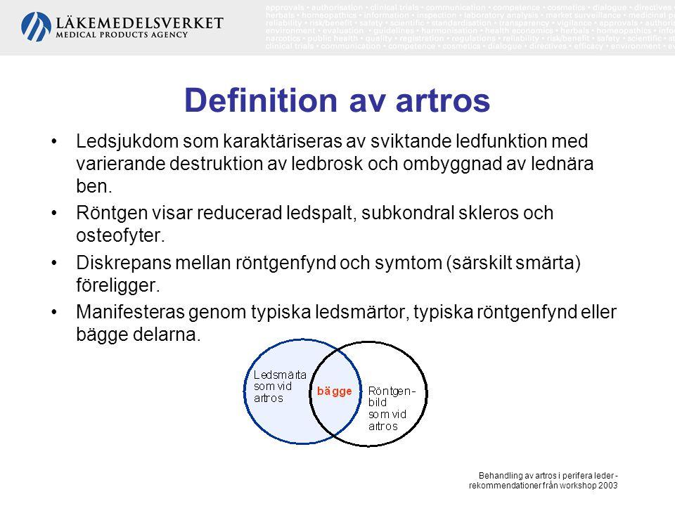Behandling av artros i perifera leder - rekommendationer från workshop 2003 Definition av artros, forts Ofta fluktuerande förlopp, spontan förbättring av såväl symtom som ledstruktur förekommer.