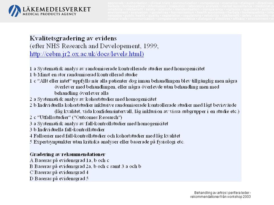 Behandling av artros i perifera leder - rekommendationer från workshop 2003